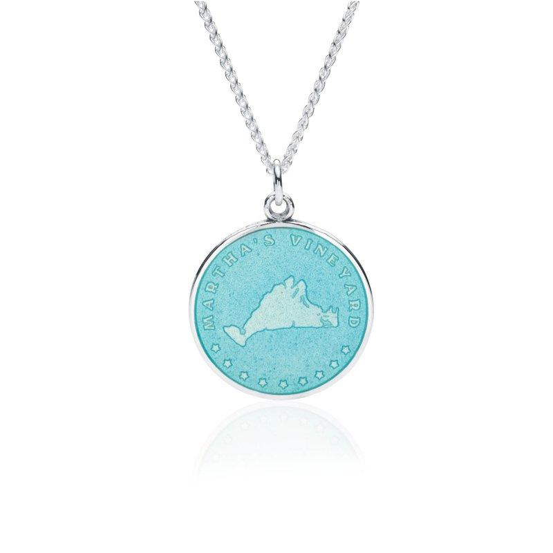 Martha's Vineyard turquoise enamel pendant