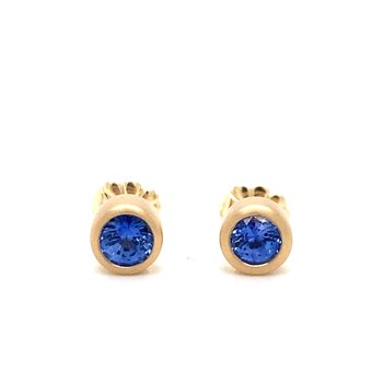 Sapphire Bezel Set Stud Earrings
