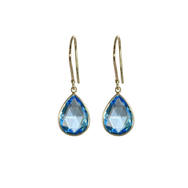 Tear Drop Blue Topaz Earrings