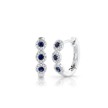 Sapphire and Diamond Halo Huggie Earrings