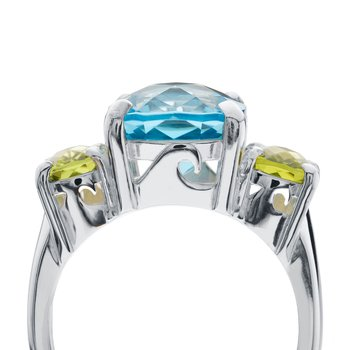 Gemstone Wave Collection Three Stone Ring with Blue Topaz and London Blue Topaz