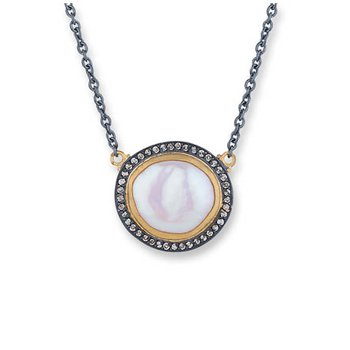 "Lika Behar ""Pearlita"" reversible pearl and cognac diamond necklace"