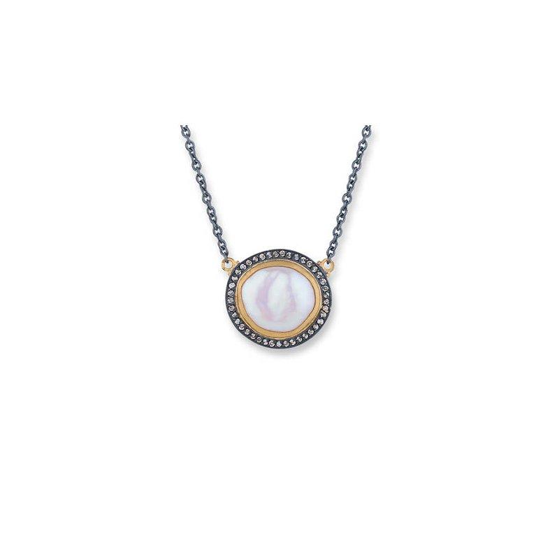 "Lika Behar ""Pearlita"" reversible pearl and cognac diamond necklace"