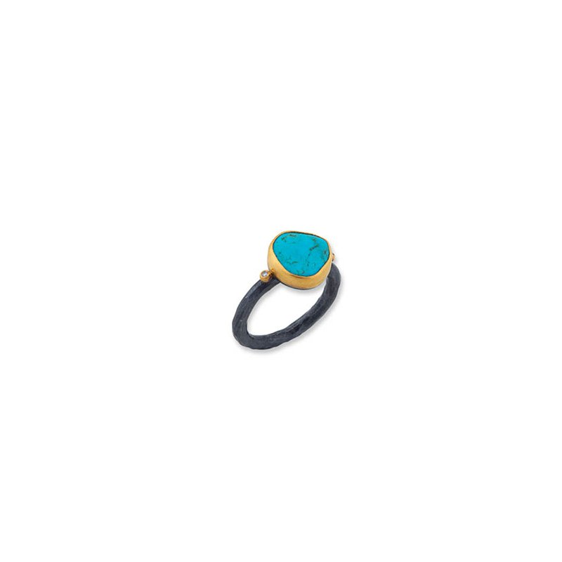 "Lika Behar ""Kay"" ring with Kingman Turquoise and Cognac diamonds"