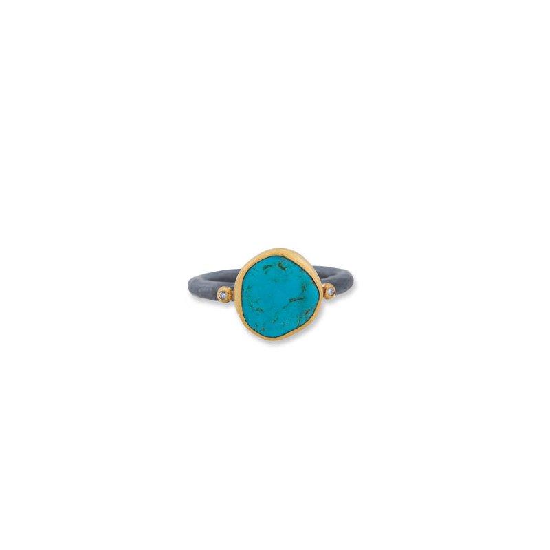 "Lika Behar ""Kay"" ring with Kingman Turquoise and Cognac diamonds"