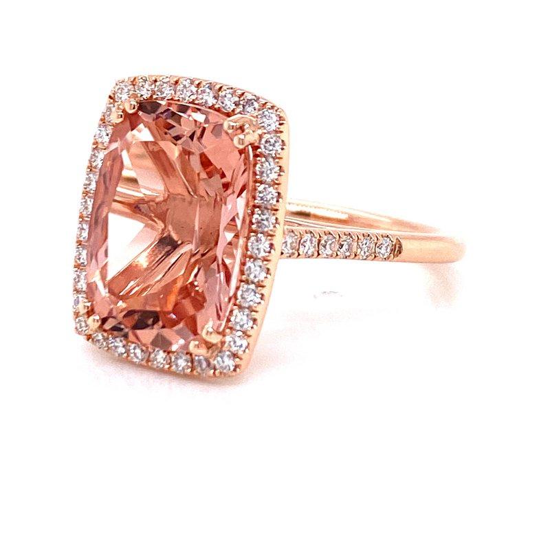 Morganite and Diamond Halo Ring