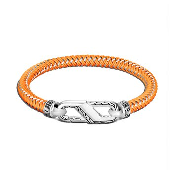 John Hardy Men's Steel and Rubber Cord Carabiner Clasp Bracelet