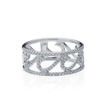 Diamond Pave Wave ring with Rails