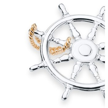 Charles W Morgan Diamond Pave Ship's Wheel pendant