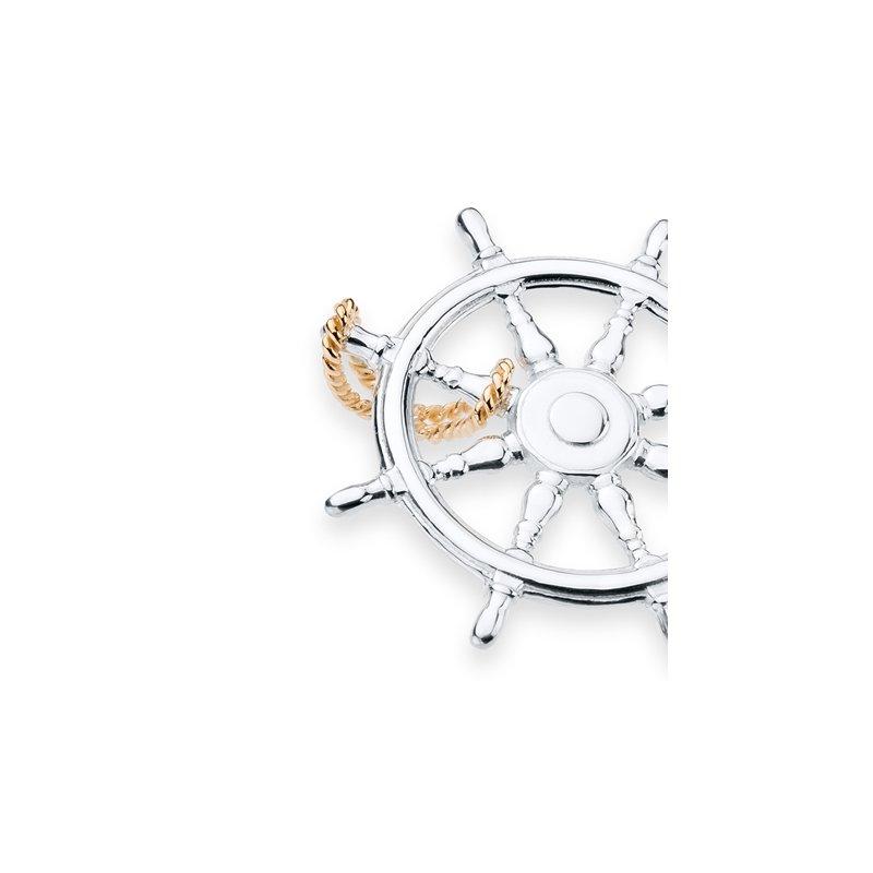 Charles W Morgan Diamond Pave Ship's Wheel pendant