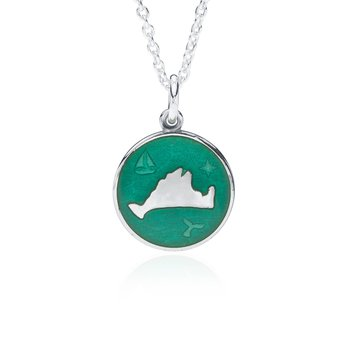"""Out at Sea"" Jade Enamel Martha's Vineyard Pendant"