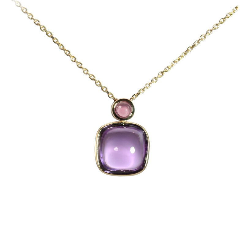 Cabochon Amethyst and Pink Tourmaline Necklace