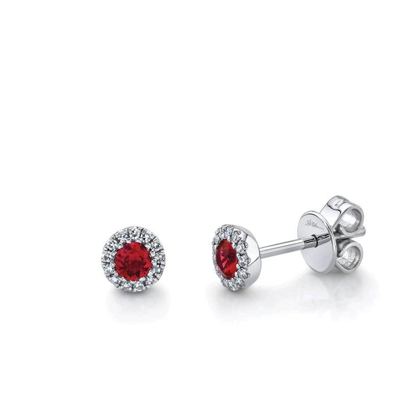 Ruby and Diamond Halo Stud Earrings