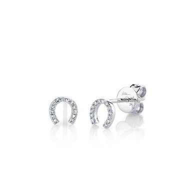 Diamond Horseshoe Stud Earrings
