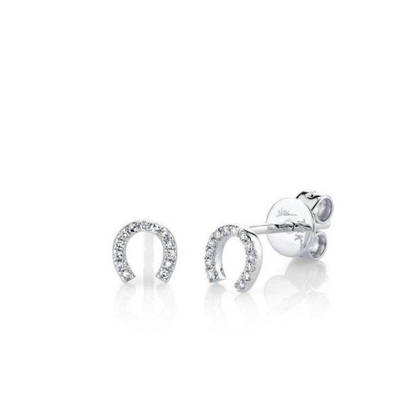 Diamond Horseshoe Stud Earrings