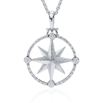 Compass Rose pendant with Diamonds