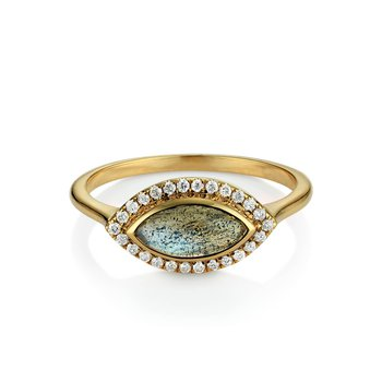 East West Labradorite and diamond ring by Theresa Kaz