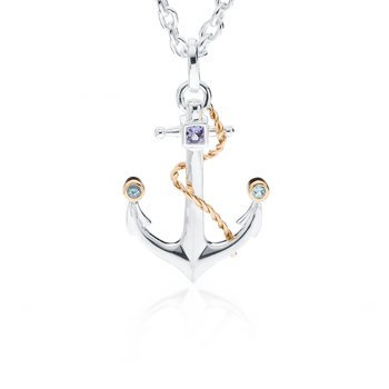 Anchor pendant with tanzanite and blue topaz