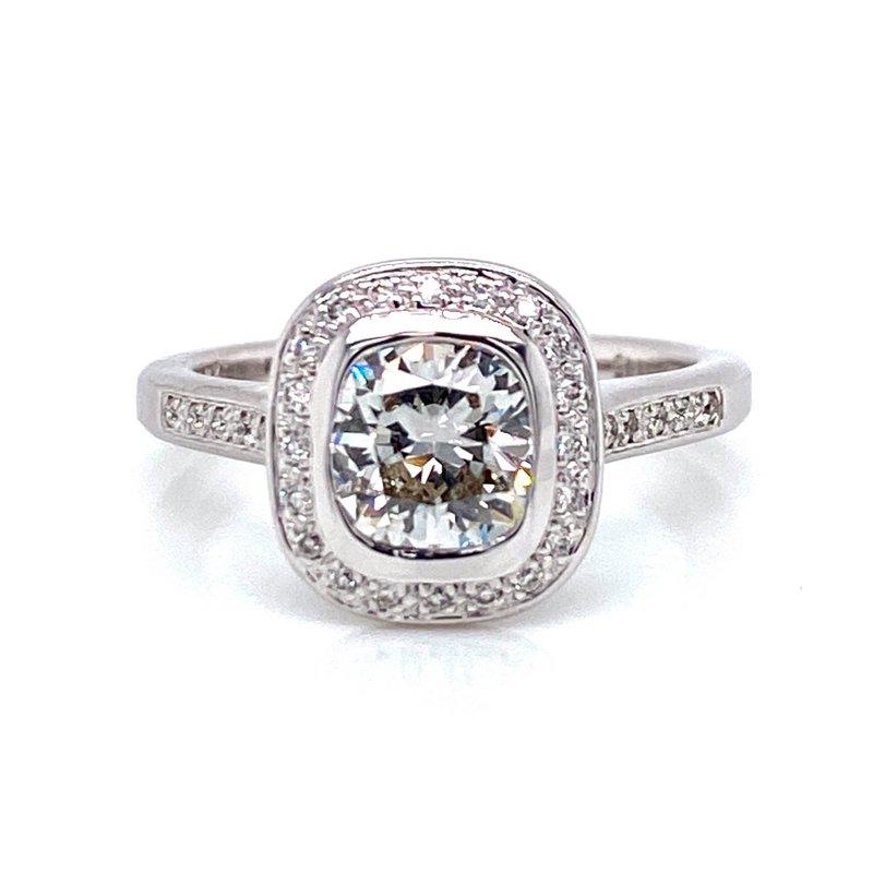 18K Cushion Cut Halo Diamond Engagement Ring