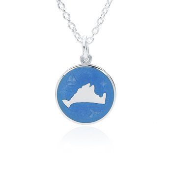 """Out at Sea"" French Blue Enamel Martha's Vineyard Pendant"