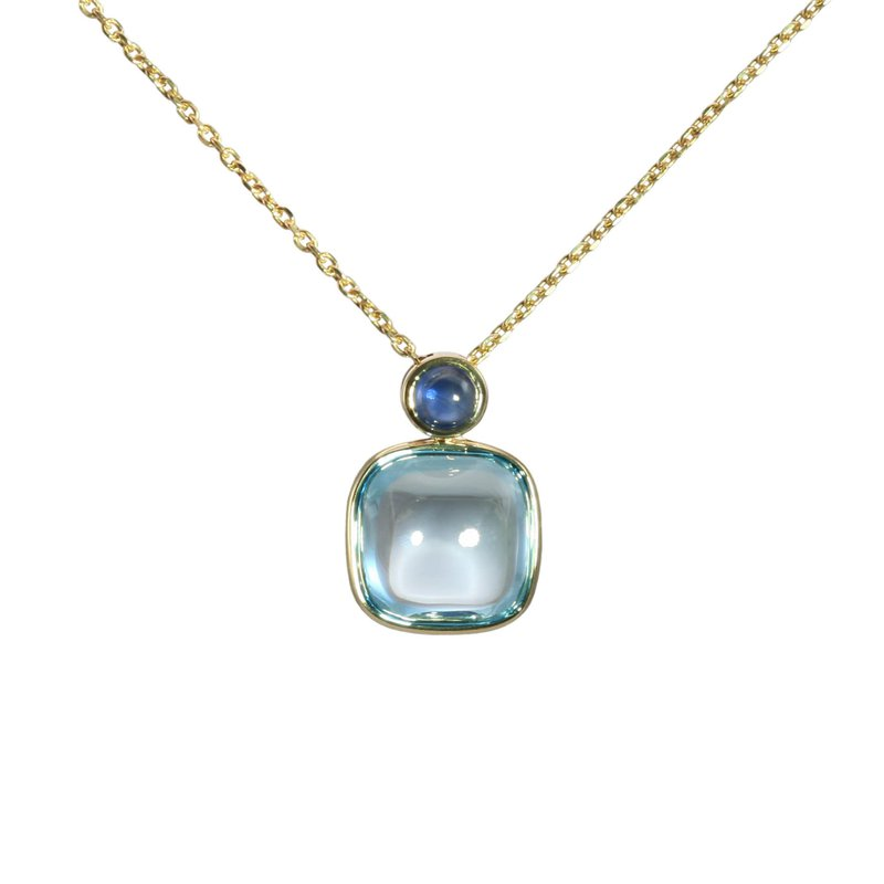 Cabochon Blue Topaz and Sapphire Necklace