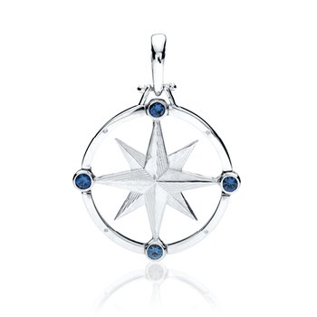 Large Round Compass Rose pendant with gemstones