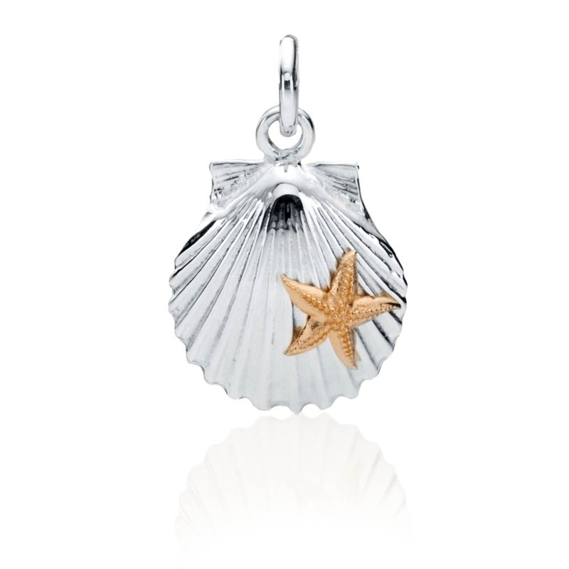 Chilmark Scallop Shell charm with 14k gold starfish