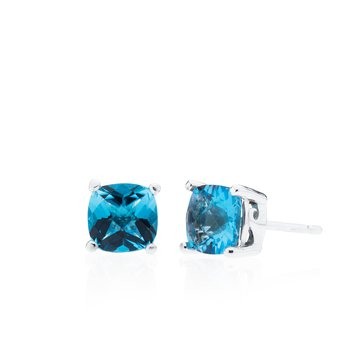 Wave Collection large earrings with blue topaz