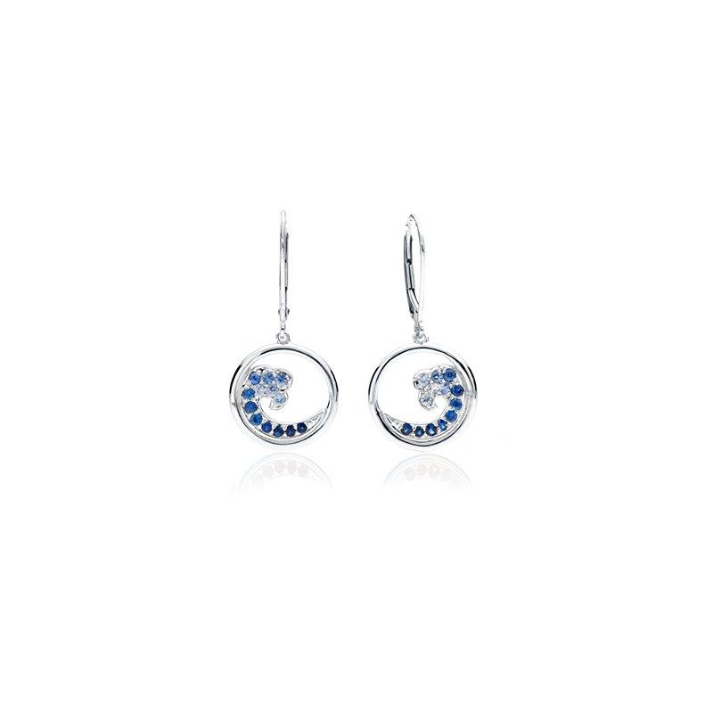 Sapphire Wave earrings in 14k gold