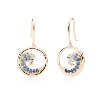 Sapphire Wave earrings in 14k gold