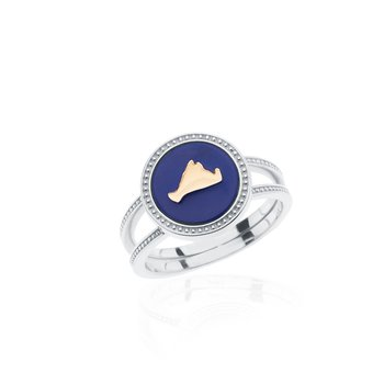 Vineyard Colors ring in sterling silver and 14k gold