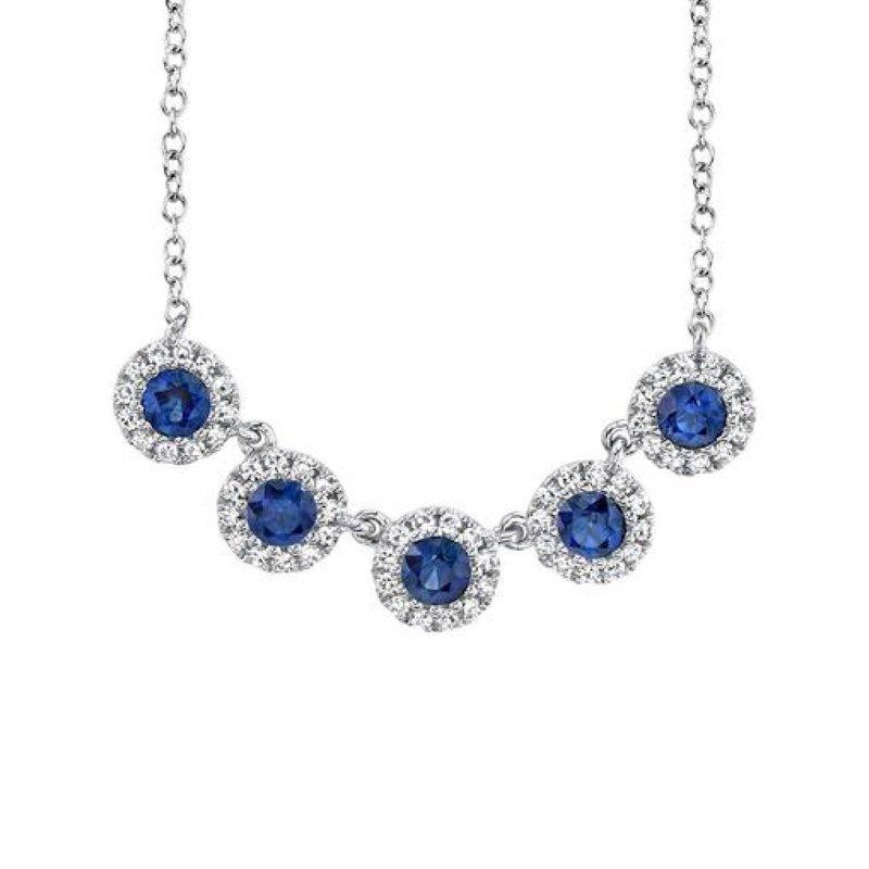 Sapphire and Diamond Halo Necklace