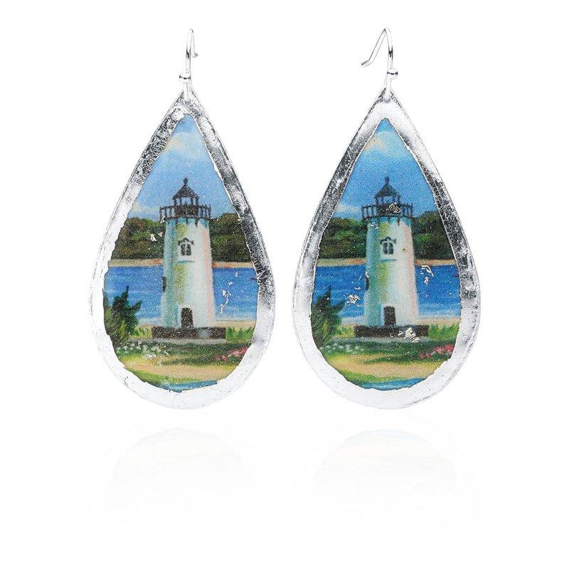 Edgartown Lighthouse Earrings featuring the artwork of Margot Datz