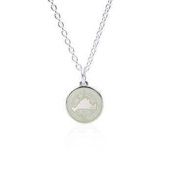 Martha's Vineyard Compass Rose Small White Enamel Pendant