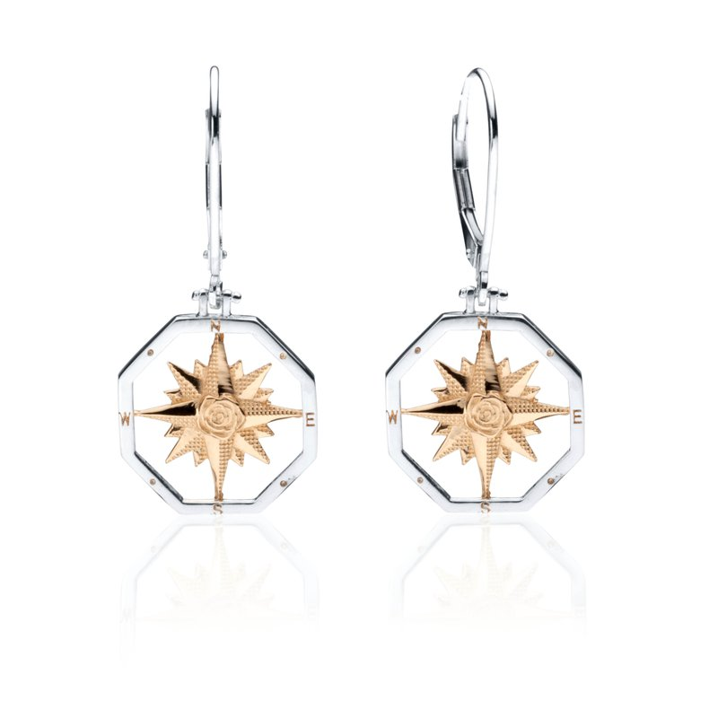 Compass Rose Leverback earrings