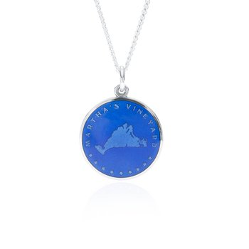 Martha's Vineyard royal blue enamel pendant