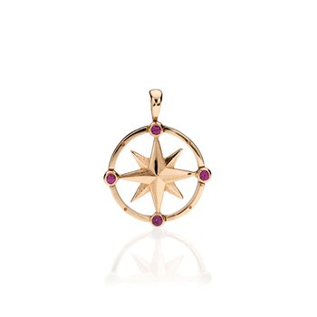 Small Round Compass Rose with Gemstones pendant