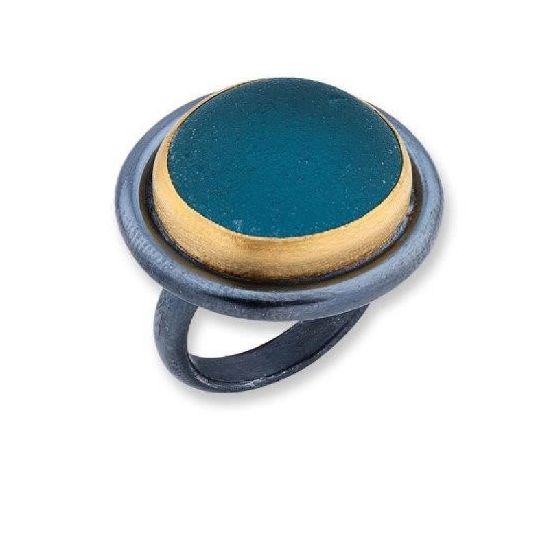 Lika Behar Dark Aqua Vineyard Seaglass Ring