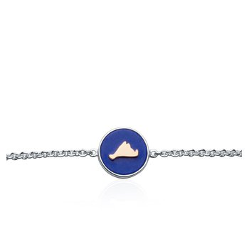 Vineyard Colors Station bracelet in sterling silver and 14k gold