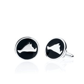 Martha's Vineyard round black enamel cufflinks