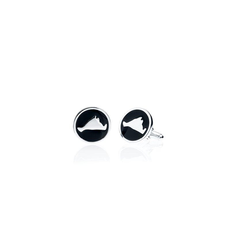 Martha's Vineyard round black enamel cufflinks
