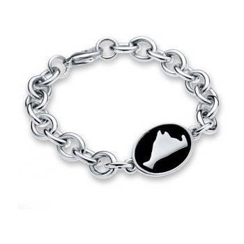 Martha's Vineyard Black Enamel Oval Tag bracelet