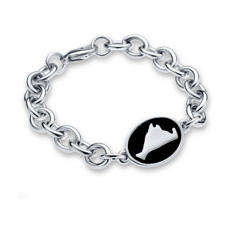 Martha's Vineyard Black Enamel Oval Tag bracelet