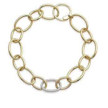 14K Open Link Bracelet with Diamond Link