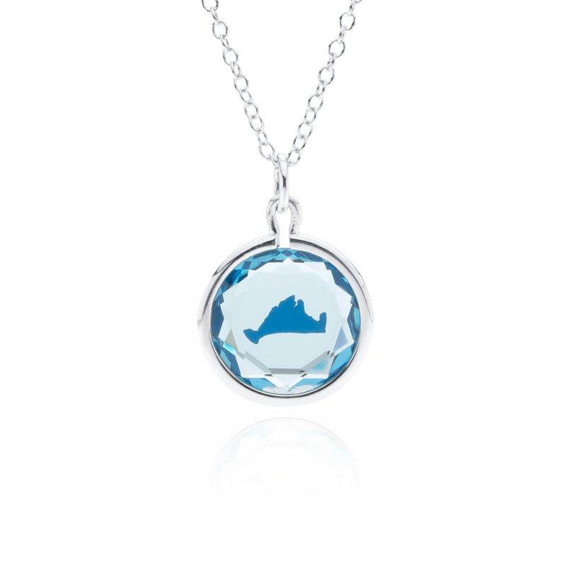 Blue Swarovski Crystal with blue enamel Martha's Vineyard necklace