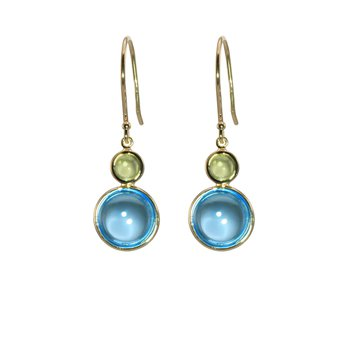 Cabochon Blue Topaz and Peridot Drop Earrings