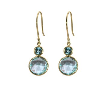 Blue Topaz and London Blue Topaz Drop Earrings