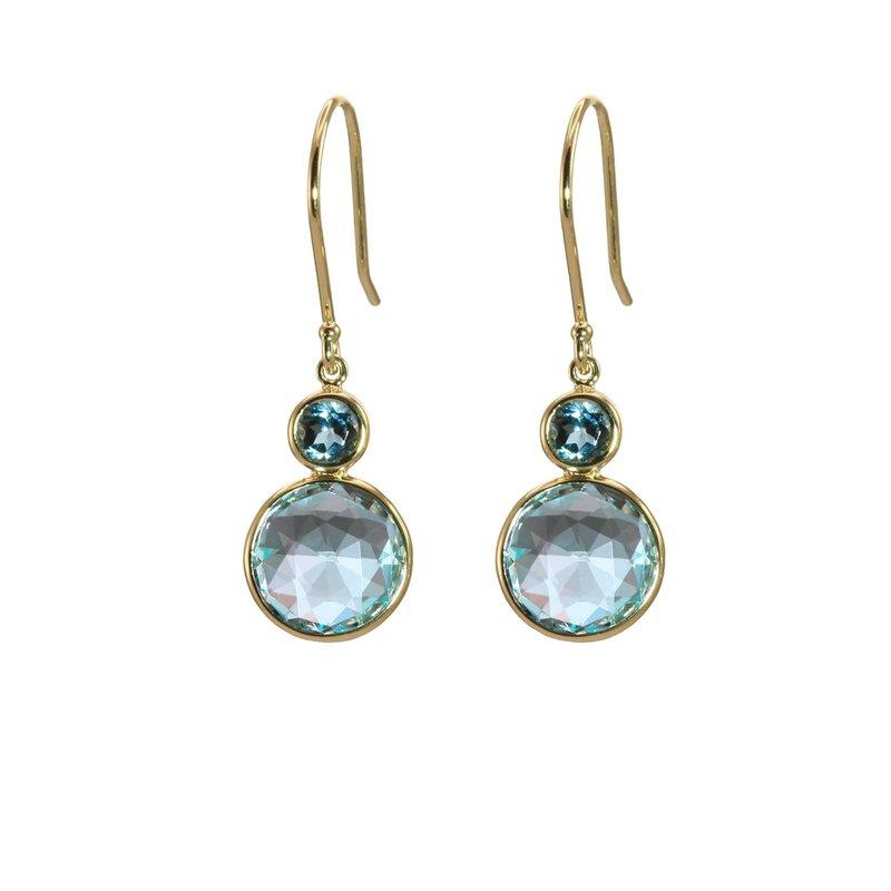 Blue Topaz and London Blue Topaz Drop Earrings