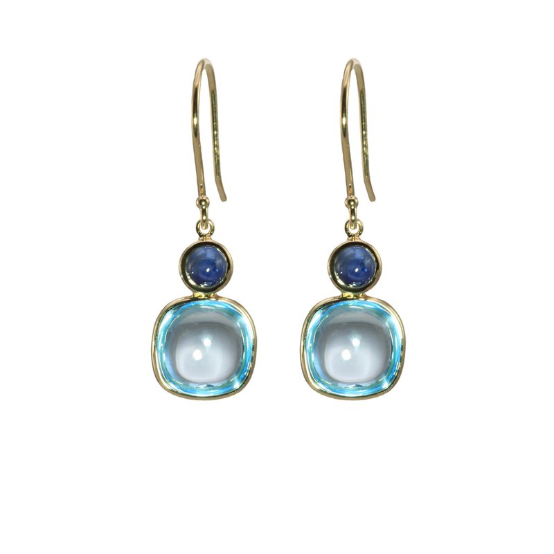 Cabochon Blue Topaz and Sapphire Drop Earrings