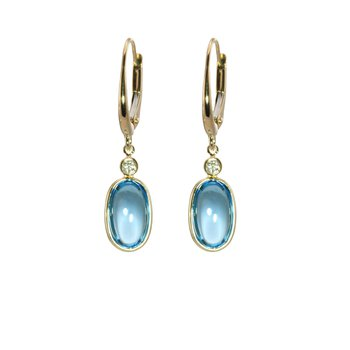 Cabochon Blue Topaz and Diamond Drop Earrings